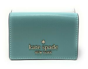 Kate Spade New York Staci Micro Trifold Wallet In Poolside Multi Gold WLR00127