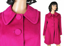 Poshe Wool Coat Sz 42 M Dark Pink Fuchsia Fall Winter Jacket Thigh Length Soft