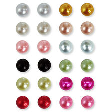 14mm Faux Half Pearl Stud or Clip-on Earrings. Silver Plated Rainbow Colours