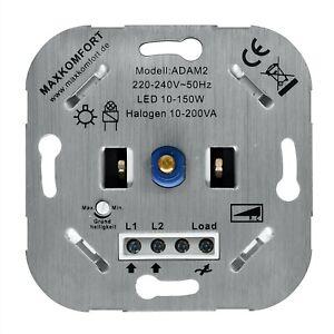Phasenabschnitt LED Halogen Dimmer Drehdimmer mit Druck-Wechselschalter 10-200W