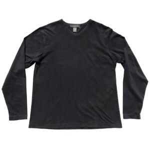 VTG 00s BANANA REPUBLIC Long Sleeve Brushed V Neck T-Shirt BLACK Mens L Designer