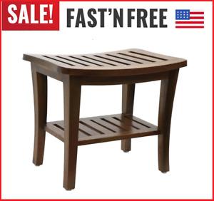 New Genuine Teak Wood Spa Shower Seat Bathroom Bench Bath Chair, Storage Shelf