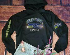 New Women's Rhinestone Bling Seattle Seahawks Hoodie Sweatshirt Unisex Sizing