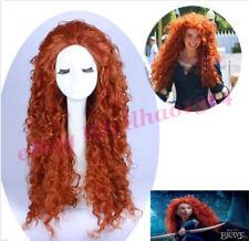 Movie Wig Brave Merida Long Curly Red-Brown Cosplay Wigs S667