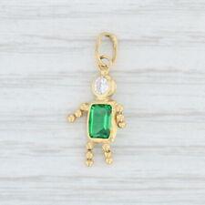 Silberdream brillo charm 3d palme verde circonita cristales gsc548g