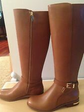 Michael Kors Arley Riding Flat Boot Leather Luggage 6M - MSRP $325
