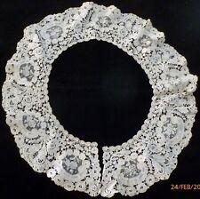Antique FLANDERS BRUGES Handmade BOBBIN LACE Collar POINT de GAZE Inserts