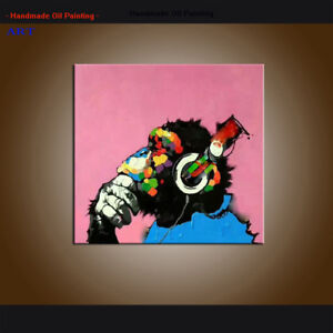 Modern Wall Art Abstract Thinking Monkey With Headphone Oil Painting Canvas Deco