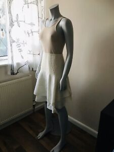 'Therapy' Cream & Ivory Cotton Linen Layered Skirt Broderie Anglaise Trim Size 8