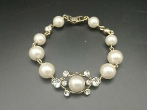 Vintage signed Givenchy faux pearls clear & pink rhinestone gold plated necklace