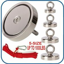 Upto 1000lb Fishing Magnet Kit Strong Neodymium Pull Force With Rope Amp Carabiner