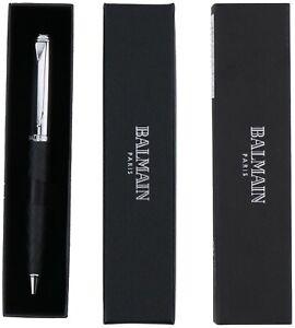 Balmain Paris Official Product Black Silver Ballpoint Pen In Gift Box