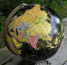 "Repogle Globe 12"" Black Ocean Authentic Made in USA Metal Base Terra Earth"