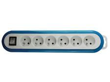 Bloc Multiprise 6 Prises avec Interrupteur Couleur BLEU Blanc 3600 Watt 230 V