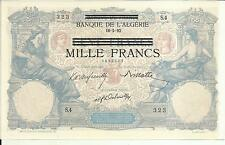Tunisia Algeria 1000 Francs Ovpt 100 Francs 1892-1942 P 31. Unc Condition