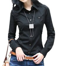 Womens Office Long Sleeve Blouse Ladies Casual Vintage Shirt Cotton Top Size Black 12