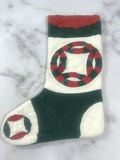 Christmas Stocking Red Green Quilted Stitched Primitive Holiday Home Decoration