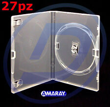 CUSTODIA PER DVD BOX SINGOLO TRASPARENTE AMARAY ALTA QUALITA' KIT 27 CUSTODIE