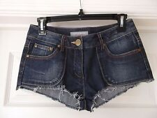 Dorothy Perkins Denim Shorts in Blue with Off White Lace Patches UK Size 10