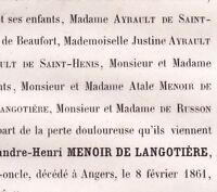 Alexandre Henri Menoir De Langotiere Angers 1861
