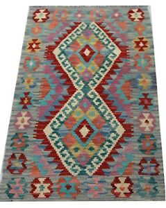 REAL Genuine Afghan Handmade Tribal Multi Colour Wool Kilim  Area Rug 60x101 cm
