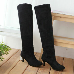 Womens Stylish Kitten Heels Over The Knee High Boots Shoes Stretch Boots Plus Sz