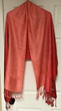 Pashmina Scarf Wrap Shawl Coral/Red With Fringed Ends 70% Cachemire 30% Seta