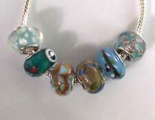 6 x Beads *** AUS ECHTEM SILBER und Glasperle, blau-bunt