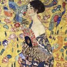 "Gustav Klimt, ""Lady with Fan"", open edition digital print, 16""h x 16""w image"