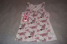 Please Go Away Rabbit Tank Top T-Shirt Hearts and Stars Womens Small