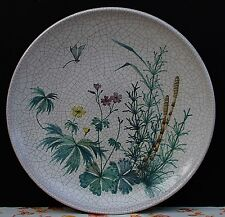 Majolika Keramik Wandteller Craquele - sehr groß !! Wiesenkräuter mit Libelle !!