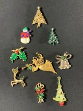 Lot of Vintage Christmis Pins Pin Brooch Rhinestones Gold Tone Tree Angel Holida