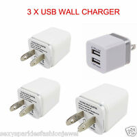 3 X USB wall Charger Fast 1A 2A USB Adapter For Galaxy S3 4 5 Note 3 LG iPhone
