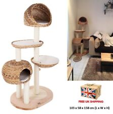 Unique Cat Trees Medium Woven Leaf Scratching Activity Post Pet Cozy Kitty Tower