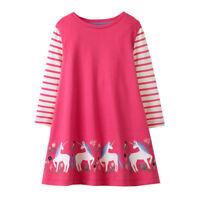 BNWT Raspberry Pink Symmetrical Unicorns  & Flowers Embroidered Dress 3-4 Years