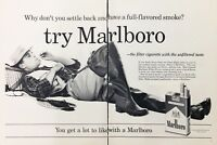 1960 Marlboro Cigarettes Man Fisherman Smoking Fishing Net Vintage Print Ad