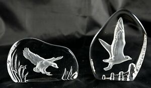 2 Wedgwood Crystal Paperweights with birds signed etched duck seagull