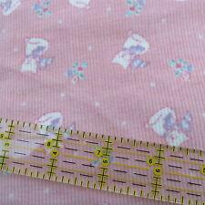 Vtg 80s Pink baby Corduroy cotton fabric kitty kitten flowers Bthy half yard cut