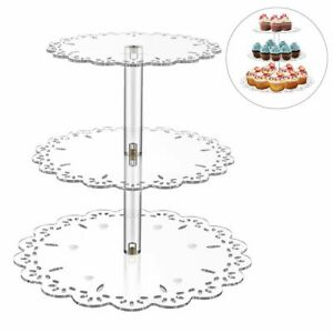 3 Tiers Acrylic Cake Display Stand Cupcake Transparent Trays Holder Party Decors