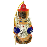 Russian Wooden Santa Ornament Hand Carved Hand Painted 3 3/4 Inch tall