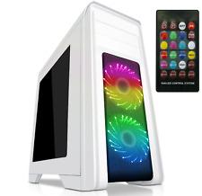 Game Max Falcon White Midi ATX PC Gaming Case 2x RGB Front Fans & Remote Control