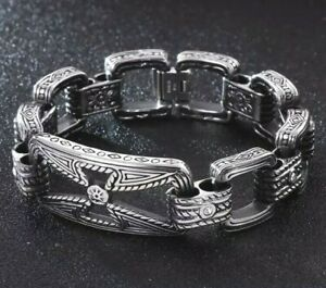 MENS DESIGNER BRACELET FOR MEN SILVER 316L SSTEEL BIKER HOLLOW CROSS DIAMANTE UK