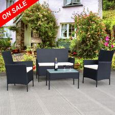 SALE 4PC Outdoor PE Rattan Furniture Set Wicker Cushion Sofa Patio Lounge Garden