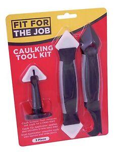 FFJ 3 Piece Caulk Tool Kit Caulking Dual Applicator Tip Scraper Detail (FLDT003)