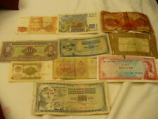 World paper money China France Spain Venezuela CCCP Yugo Neth E. Caribbean 10 pc