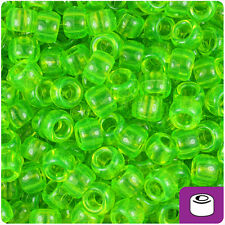 500 Lime Roe Green Transparent 9x6mm Barrel Pony Beads Made in the Usa