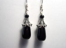 SALE   Black Onyx Drop Bead Black Spinel 925 Sterling Silver Earrings