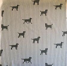 101cm x 22cm W Emily Bond Labrador On Stripe Grey Lightweight Cotton Fabric New