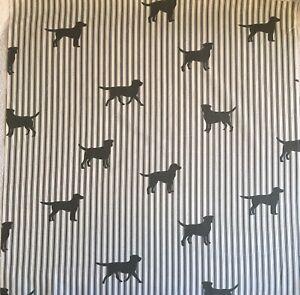 66cm x 50cm W Emily Bond Labrador On Stripe Grey Lightweight Cotton Fabric New