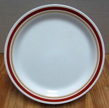 "Corelle CINNAMON  8 1/2"" Luncheon / Salad Plate White Rust Tan Rings"